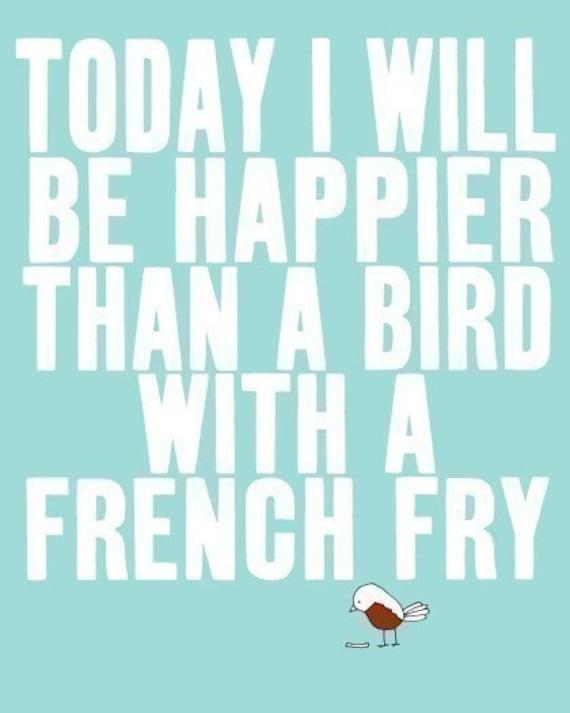 Typographic Print - Bird - Cute Print - Typographic Poster - Typography Illustration Print - SO VERY HAPPY  (white)