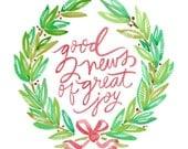 "5x7 Christmas card / ""good news of great joy"""
