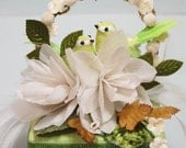 Vintage Inspired Green Chickadee Cake Topper