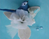 Bird and Flower Corsage with Baby Blues Accents