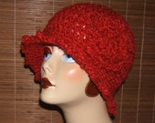 Beautiful Hand Crochet Cloche Flapper Hat Stunning Red