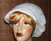 Anytime Anywhere Crochet Slouchy Brimmed Beret Hat Newsboy Hat White