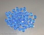 48 pcs Capri Blue Czech Preciosa Faceted Crystal Bicone 4mm