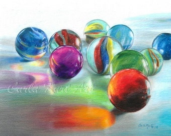 RED MARBLE REFLECTIONS by Carla Kurt Signed Print