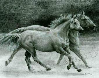 Horse Art RUNNING FREE Original Artwork by Carla Kurt