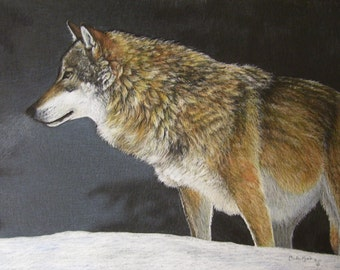 Wolf Art Original Artwork by Carla Kurt A Cold Winter Night