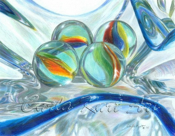 Marble Colored Pencil Drawings Of Clusters : Bowl of marbles signed print by carla kurt