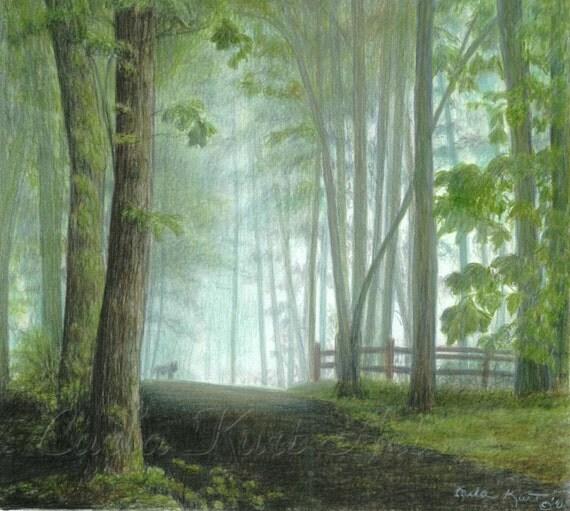 MISTY MORNING VISITOR Wolf in Landscape signed fine art print by Carla Kurt
