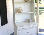Vintage Shabby Chic Cottage Painted White Farmhouse Country China Hutch - reserved for Tana