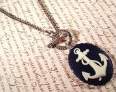 Navy Blue Anchor Cameo Necklace