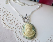 Cream and Mint Portrait Cameo Necklace