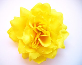 Yellow Rose Hair Clip, Pinup Hair Flower, Rockabilly Hair Clip, Rose Hair Clip, Yellow Flowers