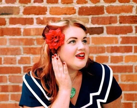 Red Dewy Hair Clip Rose