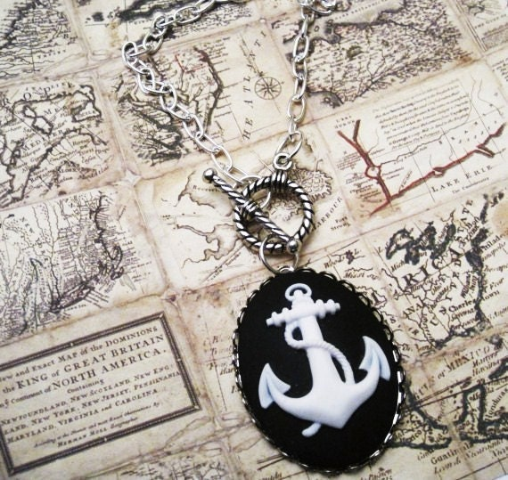 Sailor Girl Anchor Cameo Necklace