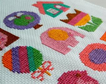 Original Retro Cross Stitch PDF Pattern by alice apple - Motif Patterns for Girls