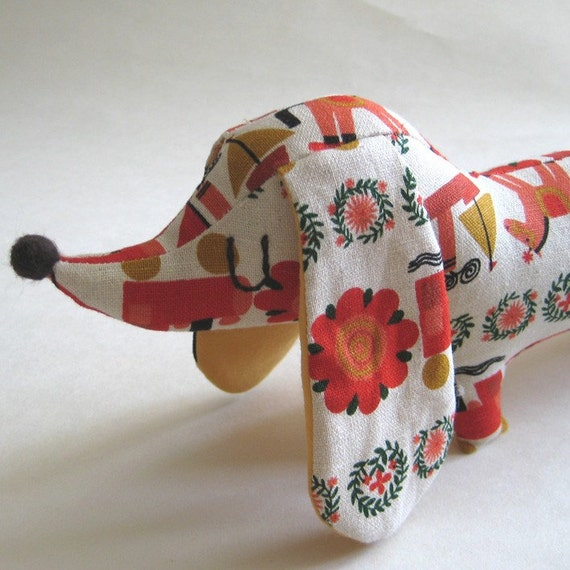 NEW Cute Mini Sausage Dog Dachshund - Retro Cute Japanese Fabric.