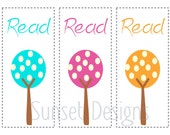 Colorful Trees Set of 3 Digital Bookmarks PDF UPrint