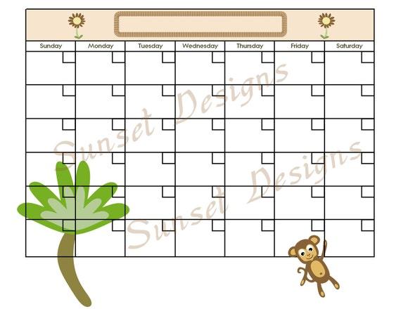 www uprint com templates - items similar to jungle monkey calendar template pdf