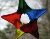Three Colorful Fused Glass Petite Stars