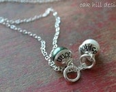 stamped necklace-sterling silver custom personalized jewelry-capped glass pearls