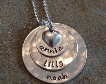 stamped mommy necklace-sterling silver custom personalized jewelry-triple stack with heart charm