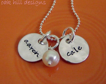 hand stamped necklace-sterling silver custom personalized jewelry-rough double petite