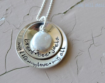 mothers day gift-personalized jewelry, personalized necklace, hand stamped jewelry-coin pearl stack-kids name necklace