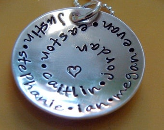 mothers day gift-hand stamped personalized sterling silver swirl jewelry-round and round-mom necklace-grandma necklace-kids name necklace