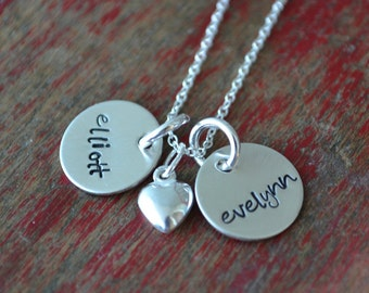 hand stamped necklace-sterling silver custom personalized jewelry-double petite with heart charm