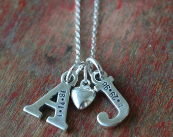 hand stamped necklace-custom, personalized sterling silver letter charms