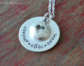 stamped mommy necklace-sterling silver custom personalized jewelry-full of love
