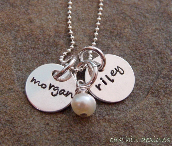 hand stamped necklace-sterling silver custom personalized jewelry-double petite with pearl