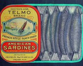 Sardine Etching with genuine Antique Label