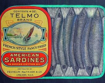 Sardine Etching with genuine Antique Label