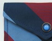 Upcycled Necktie Cardholder - Navy Cranberry Stripe