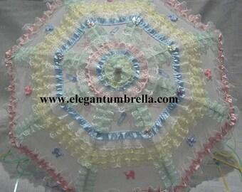 34 inch Multi-colored Lace Baby Shower Umbrella