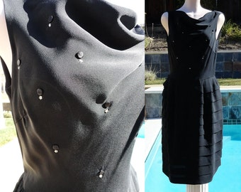 Vintage 60s Cha Cha Tiered Skirt Little Black Dress studded with Rhinestones B38