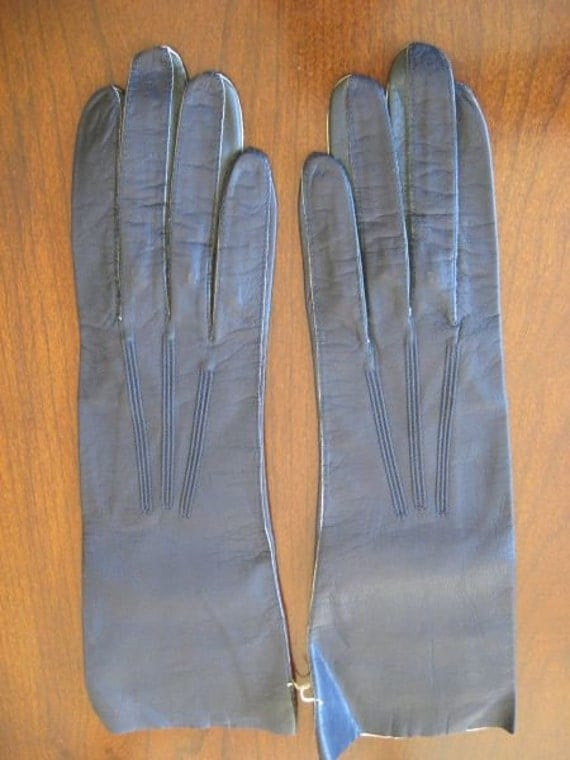 New vintage 50s French Glacelav Navy Blue Kid Leather Gloves 6 1\/2