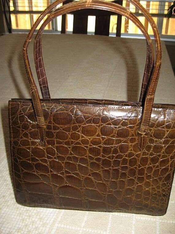 Vintage 50s 60s Alligator Handbag Purse