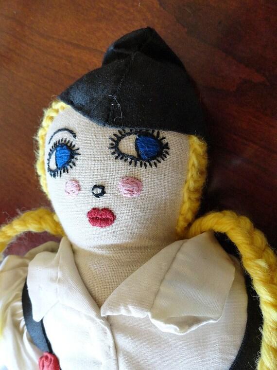 Vintage 1940s Embroidered Handmade Soft Sculpture Doll German Danish