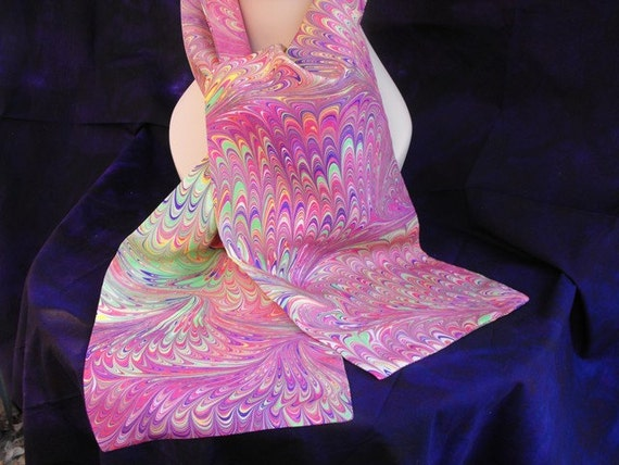 Hand Marbled Silk Scarf in Warm Colors, 69 Inches X  7 One Quarter Inches, Doubled Sided