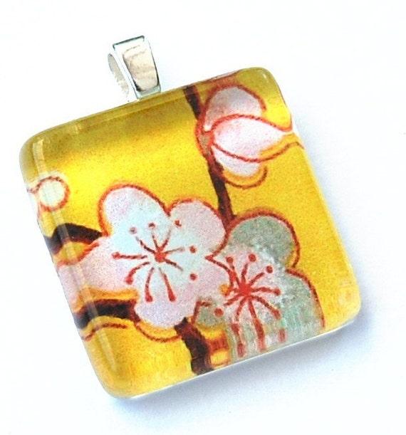 Pink on Yellow Sakura Glass Tile Pendant Necklace - Buy 2, Get 1 Free