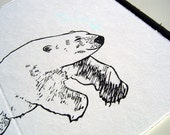 polar bear - greeting card - handprinted - 10x15cm