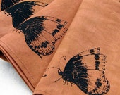 Hand dyed organic cotton hemp napkins - Screenprinted Butterfly