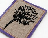 Flower brooch pin, wearable fiber art,clover flower pin, square brooch, purple, natural linen, screenprinted flower, coat jacket adornment