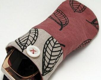 Fabric sunglasses case, eyeglass case, sunglass bag, linen bag, screenprinted leaf, fiber artist, hand dyed, dusty pink, fall leaves,