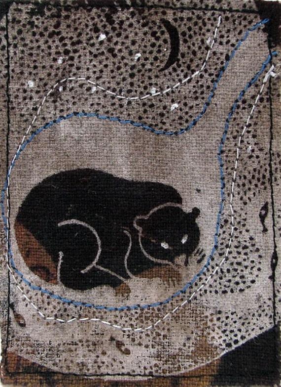 Hibernation original textile art ACEO