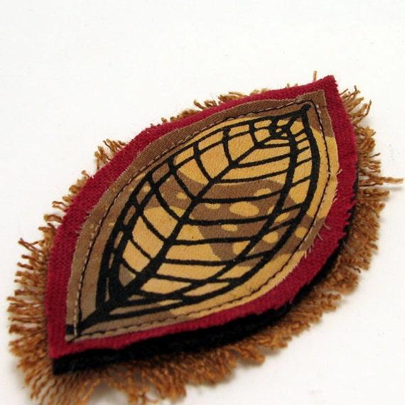 Fabric art brooch pin - Seed in Leaf