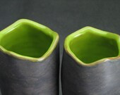 DISCOUNT set of two angular kiwi green and dark gray goblets