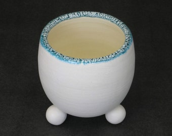turquoise blue and white stemless wine glass or cup
